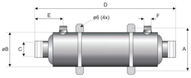 Pool Wärmetauscher Pahlén Hi-Flow Titanium Abmessungen