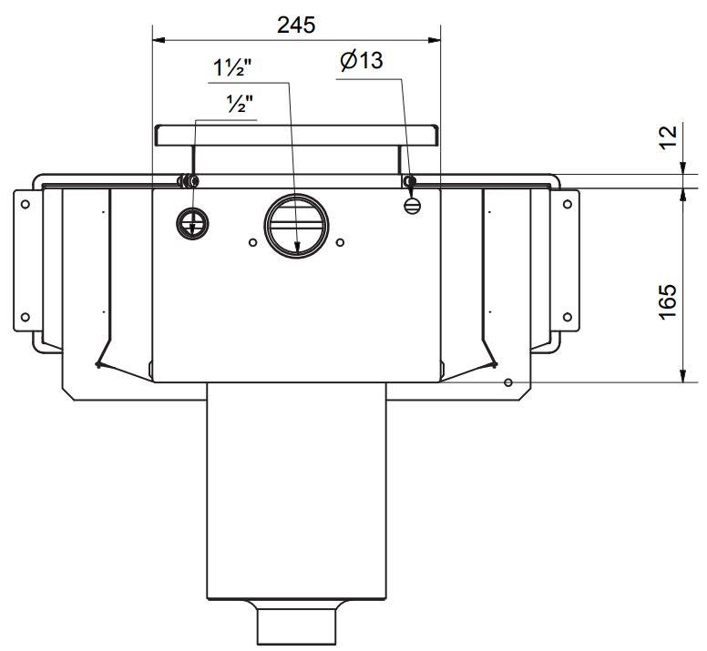 Dimensionszeichnung Pahlén Pool Breitmaulskimmers Classice Wide