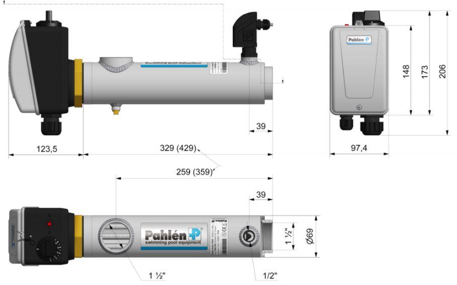 Abmessungen des Pahlén Schwimmbad Elektroheizer Kompakt: