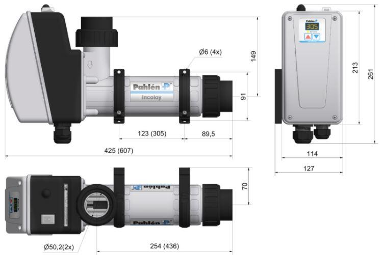 Abmessungen des Pahlén Schwimmbad Elektroheizer Aqua HL Digital: