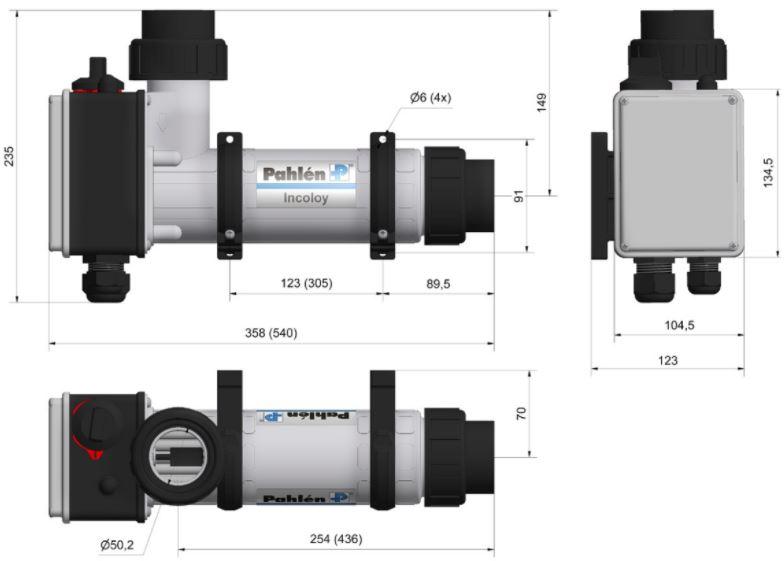 Abmessungen des Pahlén Schwimmbad Elektroheizer Aqua compact:
