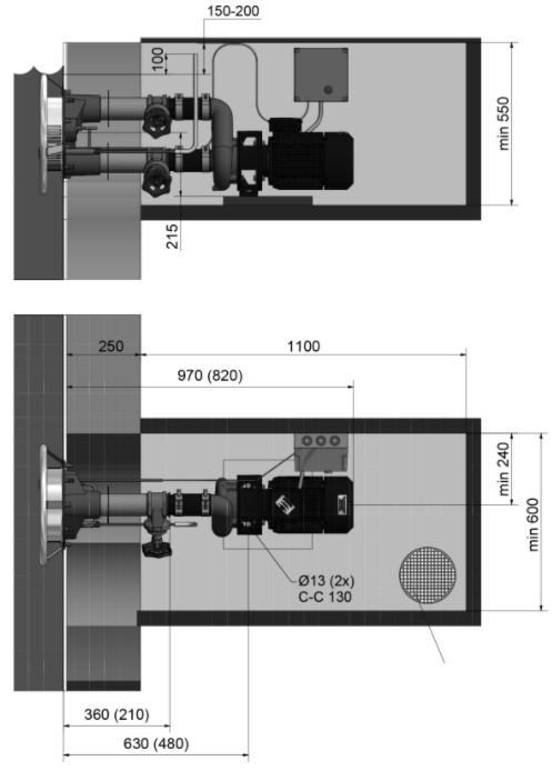 Abmessungen Pahlén Gegenstromanlage Jet Swim 2000