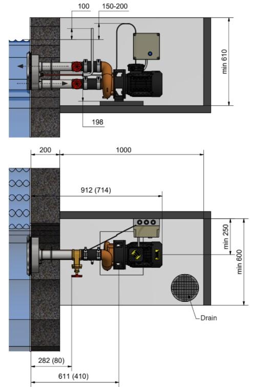 Abmessungen Pahlén Gegenstromanlage Jet Swim Motion