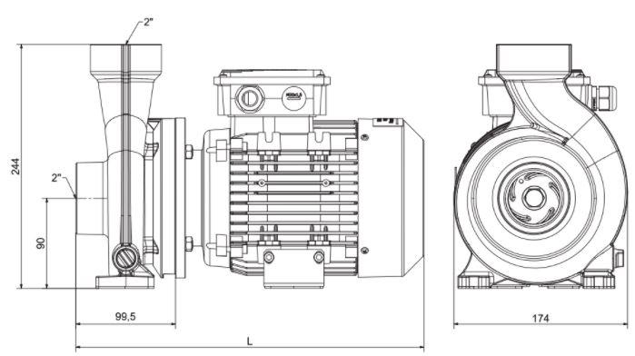 Abmessungen Pahlén FloVISE 230V Poolpumpe