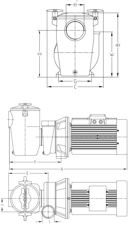 Maßzeichnung Pahlén P85 Schwimmbadpumpe