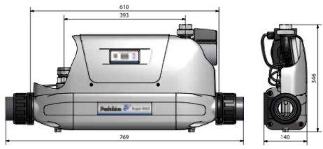 Abmessungen des Pahlén Schwimmbad Wärmetauscher AQUA-MEX (F.E) Titan: