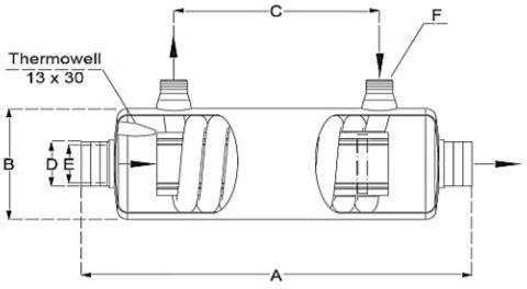Abmessungen des Daprà Schwimmbad Wärmetauscher D-NWT