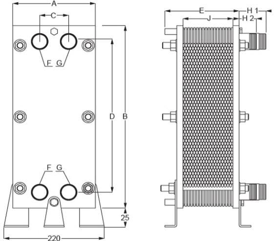 Abmessungen des Daprà Schwimmbad Wärmetauscher X-PWT